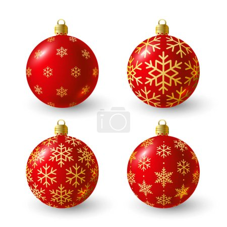 Illustration for Set of red Christmas balls for Your design vector illustration - Royalty Free Image