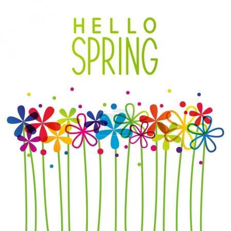 Illustration for Hello Spring rainbow flowers, vector illustration - Royalty Free Image