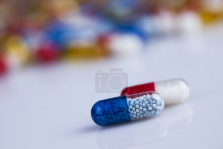 Photo for Composition with variety of drug pills background - Royalty Free Image