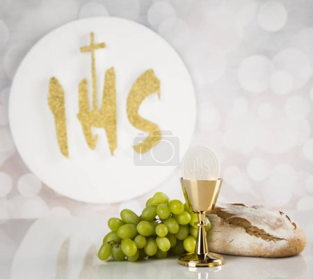Holy communion a golden chalice