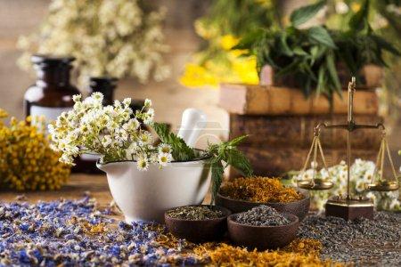 Herbs medicine,Natural remedy and mortar