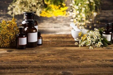 Photo pour Médecine naturelle, phytothérapie, sur fond de bureau en bois - image libre de droit
