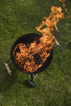 Photo pour Grill sur le jardin, barbecue et fond de feu - image libre de droit