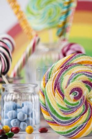 Glass jars in Colorful candies
