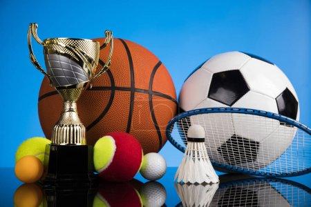 Winning trophy championship award, sport stadium background