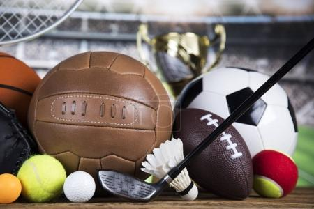 Photo for Balls in sport, Trophy and championship concept - Royalty Free Image