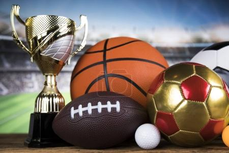 Photo for Trophy for champion, sport background - Royalty Free Image