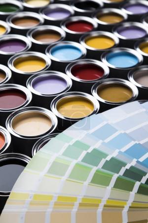 Paint cans, color palette close up
