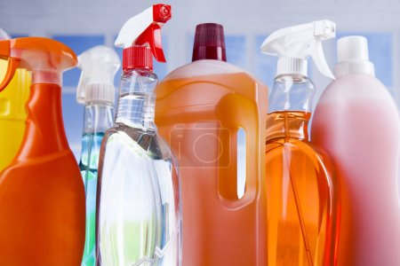 Photo for Assorted cleaning products, equipment background - Royalty Free Image