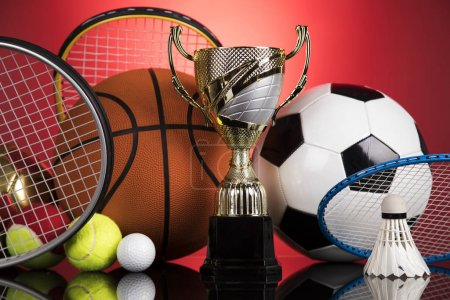 Photo for Trophy, Winning, Award. sport ball background - Royalty Free Image