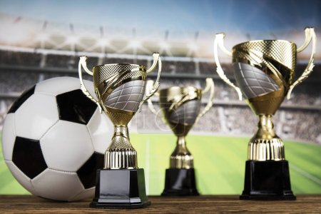 Photo for Winner podium sports symbols, winning background - Royalty Free Image