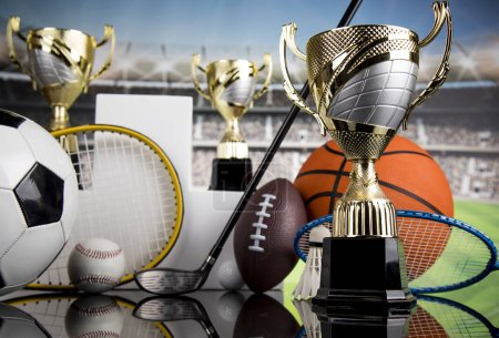 Photo for Trophy cup and sport ball background - Royalty Free Image
