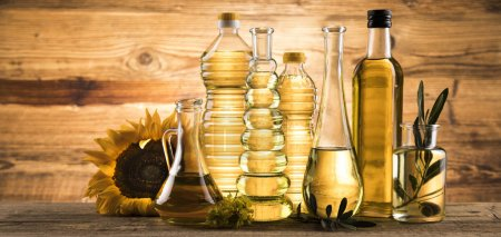 Photo for Cooking and food oil products, Extra virgin olive, sunflower seed, rapeseed oil - Royalty Free Image