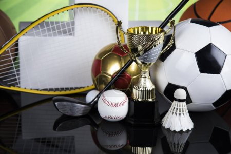 Photo for Podium for sports awards, equipment and balls - Royalty Free Image