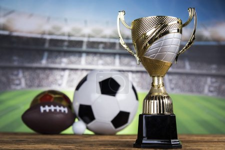 Photo for Winning trophy championship award, sport stadium background - Royalty Free Image
