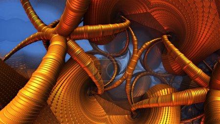 Photo pour Fond abstrait 3D, structures et formes en or fantastiques - image libre de droit