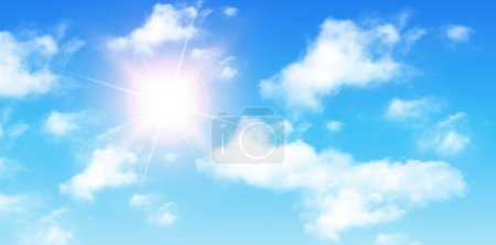 Illustration for Blue sky with clouds and sun, perfect day vector background. - Royalty Free Image