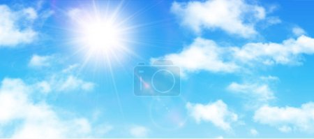 Illustration for Sunny background, blue sky with white clouds and sun, vector illustration. - Royalty Free Image