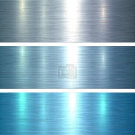 Photo pour Textures métalliques fond métallique brossé bleu, illustration vectorielle . - image libre de droit