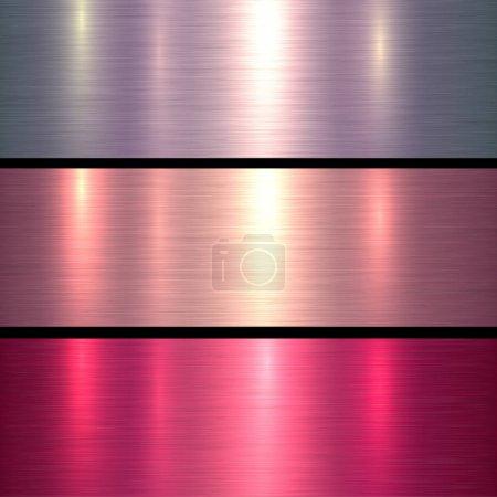 Photo pour Textures métalliques fond métallique brossé rose et rouge, illustration vectorielle. - image libre de droit