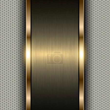 Illustration pour Fond en or métallique, bannière métallique sur fond motif hexagone , - image libre de droit