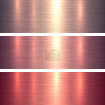Illustration for Metal textures pink and red brushed metallic background, vector illustration. - Royalty Free Image