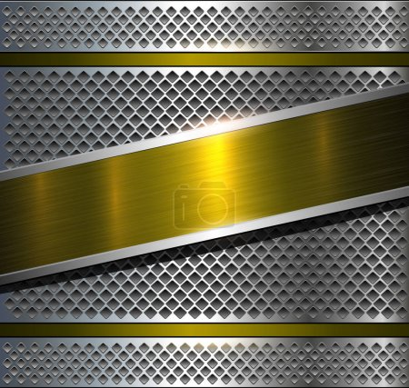 Illustration for Background metallic with gold brushed metal texture, vector illustration. - Royalty Free Image