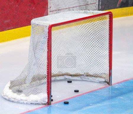 ice hockey net with puck