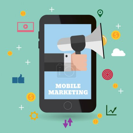 mobile marketing flat design eps 10 vector