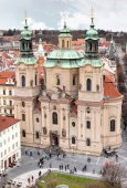 St. Nicholas Church on Old Town Square in Prague, Czech Republic, aerial view from the roof