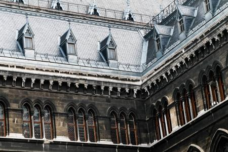 Dormer windows on the roofs of gothic building