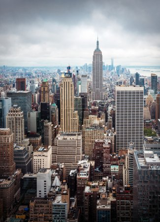 Photo for New York City Manhattan midtown aerial view with skyscrapers on an overcast day - Royalty Free Image