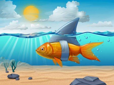 Photo pour Poisson doré portant une nageoire de requin. Illustration numérique . - image libre de droit