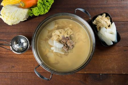 hot pot with boiled lamb meat