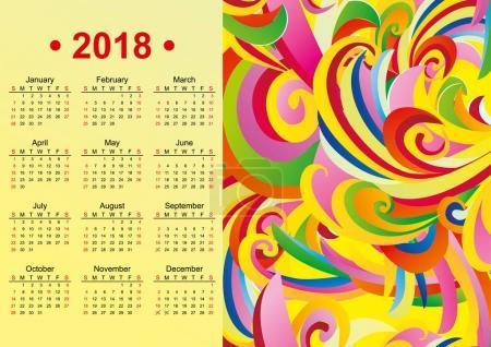 yellow English calendar 2018 year