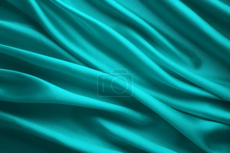 Photo for Silk Fabric Background, Blue Satin Cloth Waves, Abstract Flowing Waving Textile - Royalty Free Image