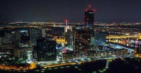 Vienna at  night  with city lights