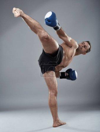 Kickbox fighter working