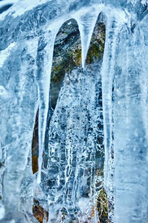 Photo for Beautifully shaped icicles on mountain from frozen waterfall - Royalty Free Image