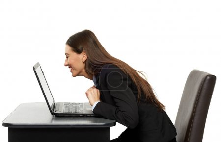 Amused business woman laughing a