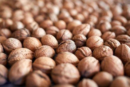 Closeup of many walnuts