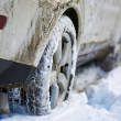 Closeup of a 4x4 SUV wheels in the snow...