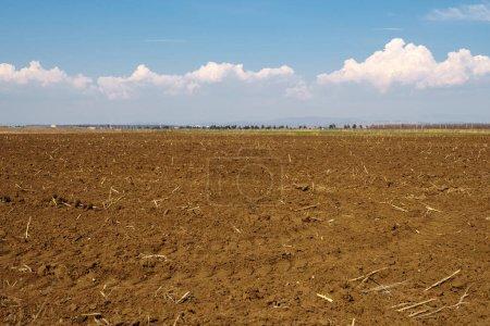 Ploughed soil under blue sky