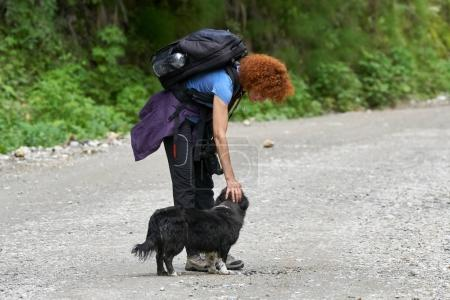 Hiker with dog in forest