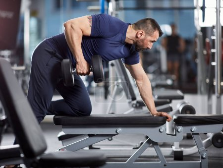 Fitness trainer with dumbbell row