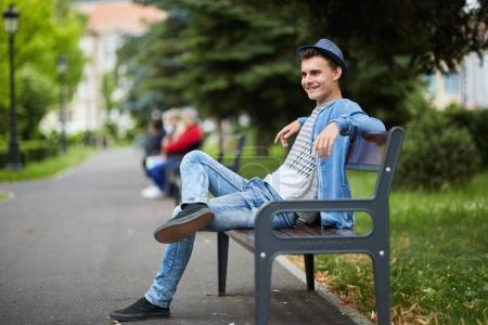 Young boy in urban environment