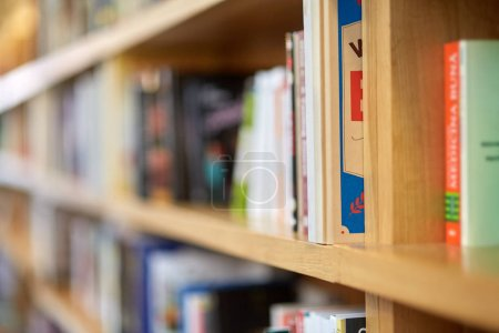 Books on shelves in a public library