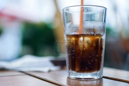 Glass of coke with ice