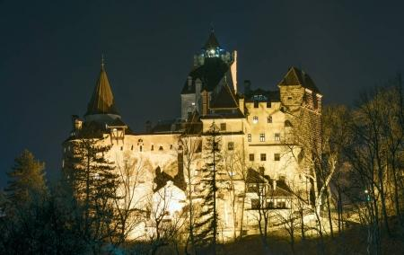14 Dec 2017, Bran, Brasov - Dracula castle in Bran, Romania by night