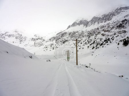 Road through the mountains during winter time